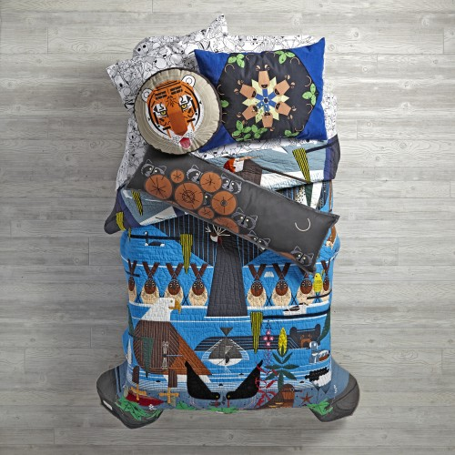 Charley Harper for Land of Nod Glacier Bay Bedding: Quilt, $399 (twin), $459 (full); Standard Sham, $69; Sheet Set, $79 (twin), $109 (full), $129 (queen); Raccoon Pillow, $49