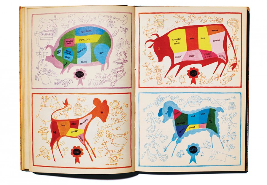 Four colorful butchery illustrations from the Esquire's Cookbook