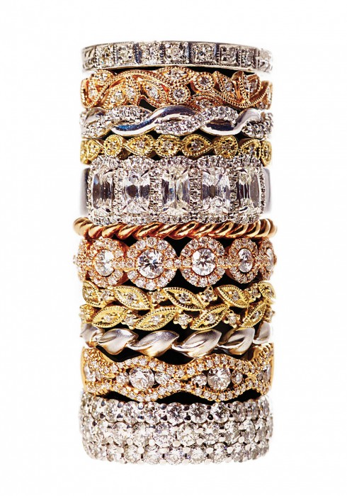 A tower of rings in every color.