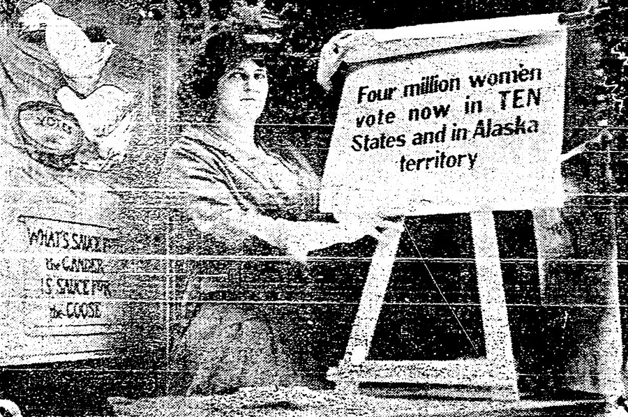 Marguerite Molliter spent weeks standing in the window of the Gayety Theater building on Vine Street rotating signs supporting the vote for women. Although she endured shifts as long as five hours, Ohio voted against woman suffrage in 1914.