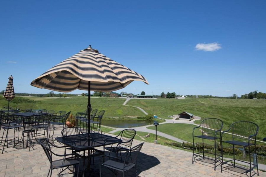 Enjoy the patio with views of the vineyards.