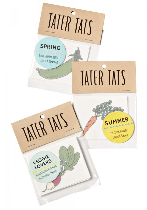 Illustrated temporary tattoos will get your favorite legume lover pumped for all the spring and summer veggies. Tater Tats tattoo pack, $5 each; Tater Tats Veggie Lovers pack, $15, Park + Vine, parkandvine.com