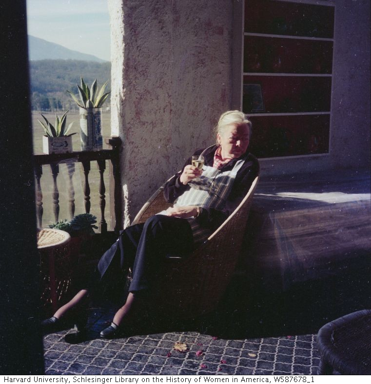 Paul Child took this photograph of M.F.K. Fisher at Last House in the late 1970s.
