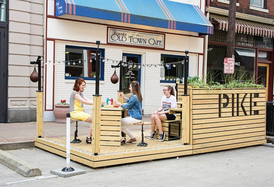 The Boxing Ring parklet, on Pike Street, outside Franks Old Town Café and Cutman Barbershop
