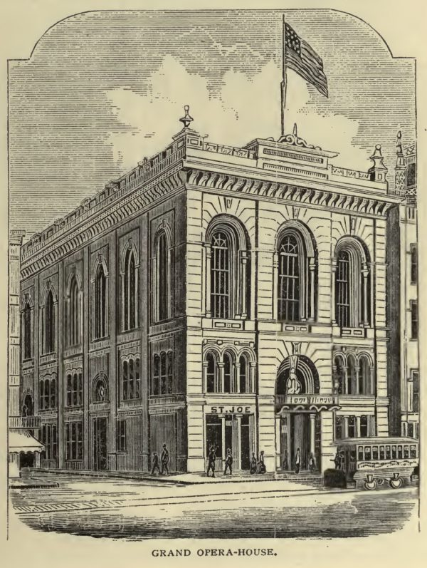 Drawing of Grand Opera House, from Illustrated Cincinnati by D.J. Kenny, published 1875