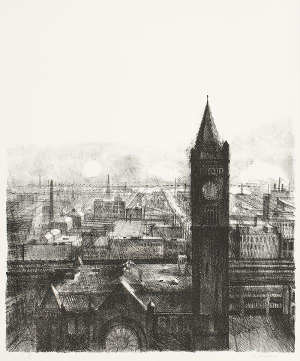 Vija Celmins (American, b. 1938), Union Station, 1962, lithograph, 18-1/8 × 15-1/8 in. Indianapolis Museum of Art, Gift of Garo Zareh Antreasian, 1994.649.1. © Vija Celmins.