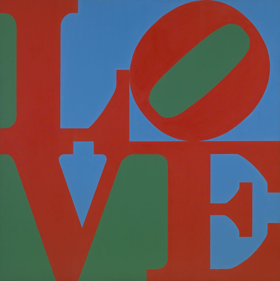 Robert Indiana (American, b. 1928), LOVE, 1966, oil on canvas, 71-7/8 × 71-7/8 × 2-1/2 in. Indianapolis Museum of Art, James E. Roberts Fund, 67.8 © 2016 Morgan Art Foundation / Artists Rights Society (ARS), New York.