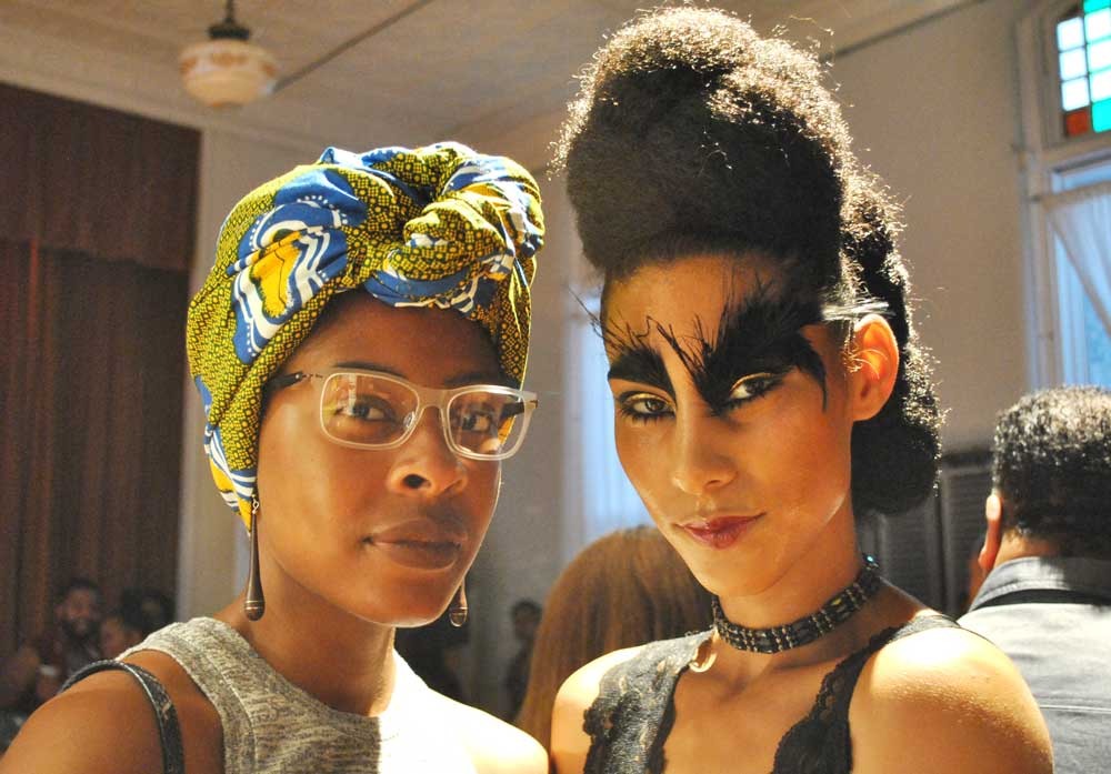 The models' hair and makeup (right) tackled beauty trends.