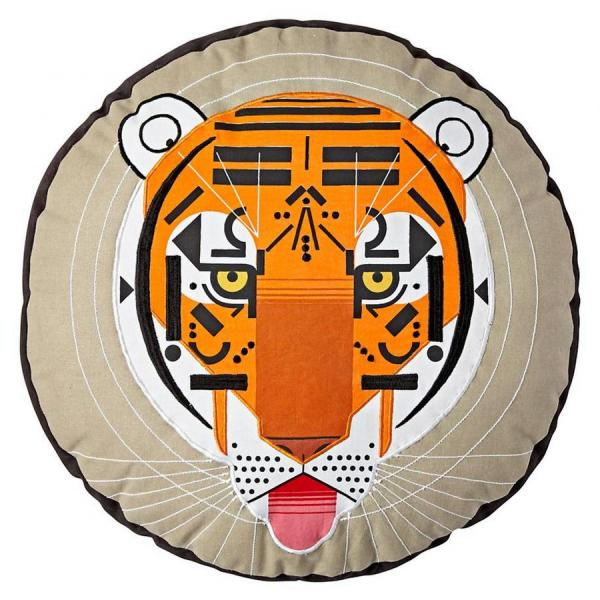 Tiger throw pillow, $34, Land of Nod, landofnod.com