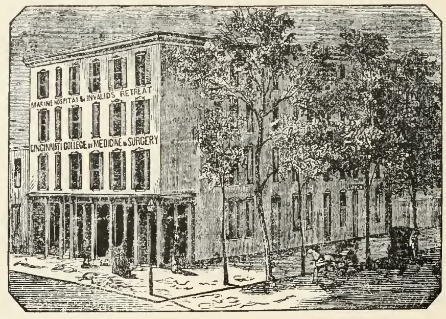 The scene of the Infernal Machine Murders was the College of Medicine and Surgery, with its associated Marine Hospital & Invalid's Retreat, located at the southwest corner of Longworth Street and Western Row.