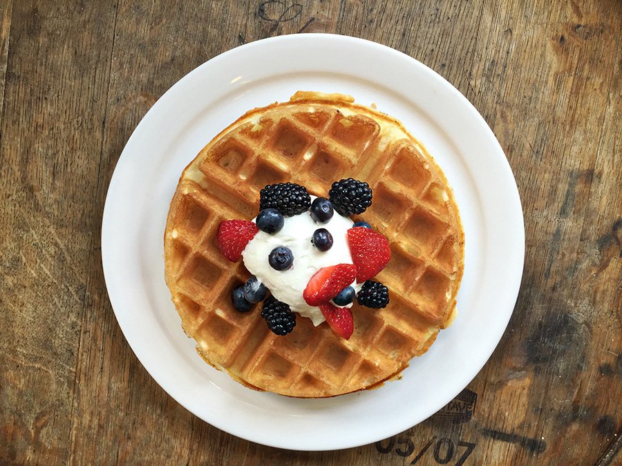 Belgian Waffles, $7.50 (add house-made whipped cream, mixed berries, or walnuts, .50)