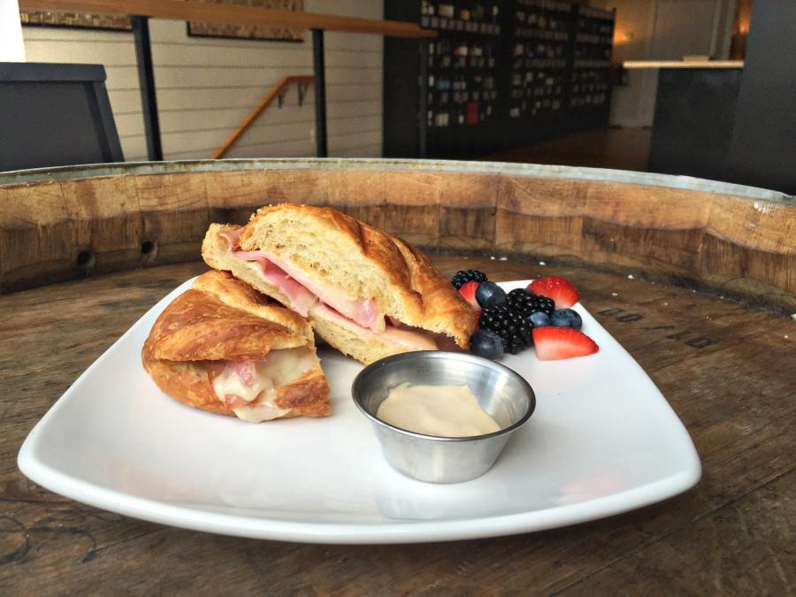 Ham and Gruyere on Croissant, served with mixed berries, $7