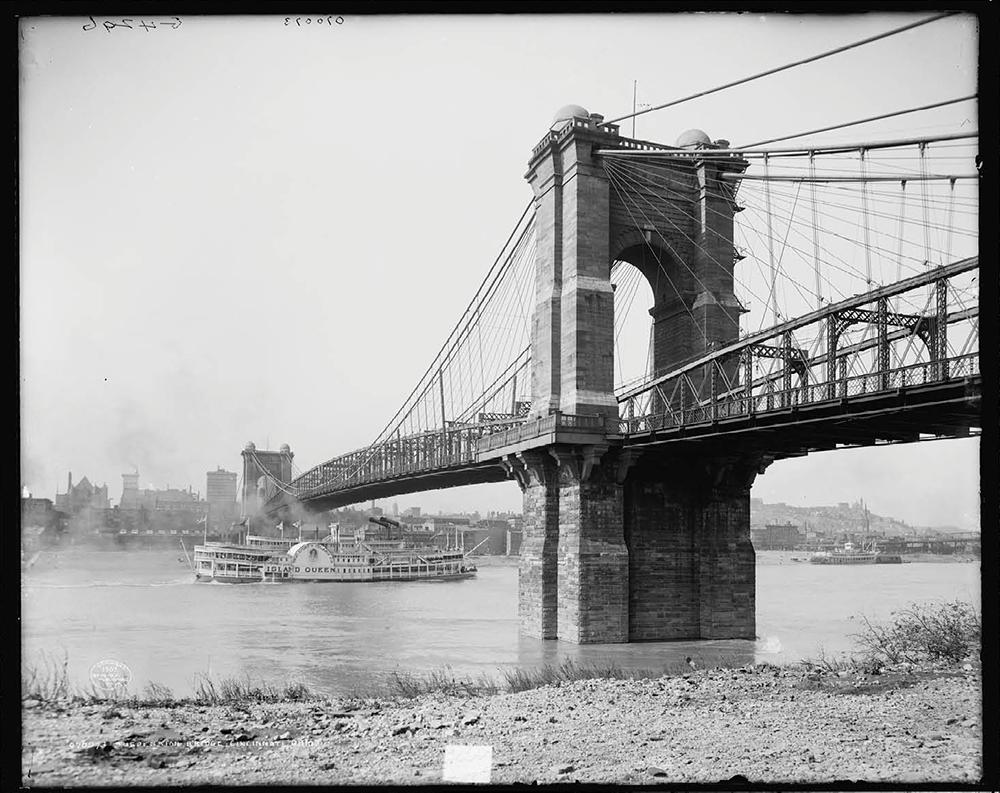 SUSPENSION BRIDGE OVER THE OHIO RIVER AT CINCINNATI OHIO STEAMBOATS HISTORY