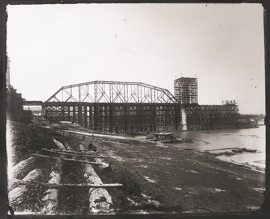 Chesapeake & Ohio Railroad Bridge, Under Construction, August 4,1888, gelatin silver contact print, 2013, from original glass plate negative, 1888.
