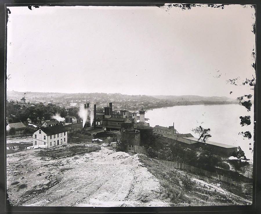 Looking East along the Ohio River, gelatin silver contact print, 2013, from glass-plate negative, late 1880s.