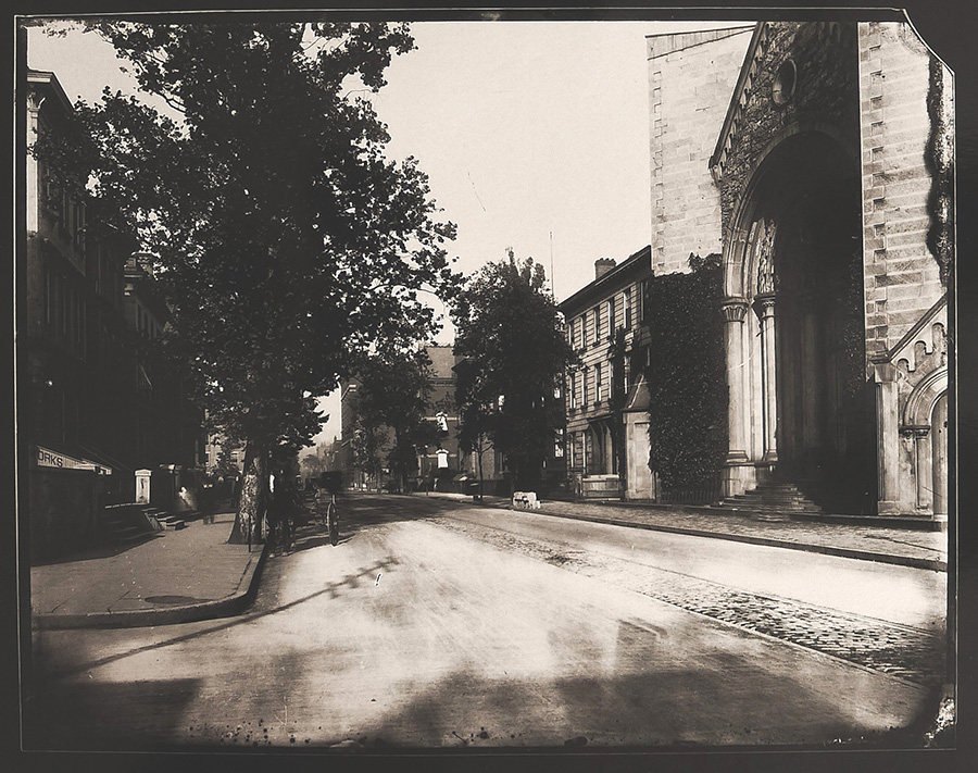 7th and Plum Streets with Streetcar Track and St. Paul's Cathedral, gelatin silver contact print, 2013, from glass-plate negative, late 1880s.