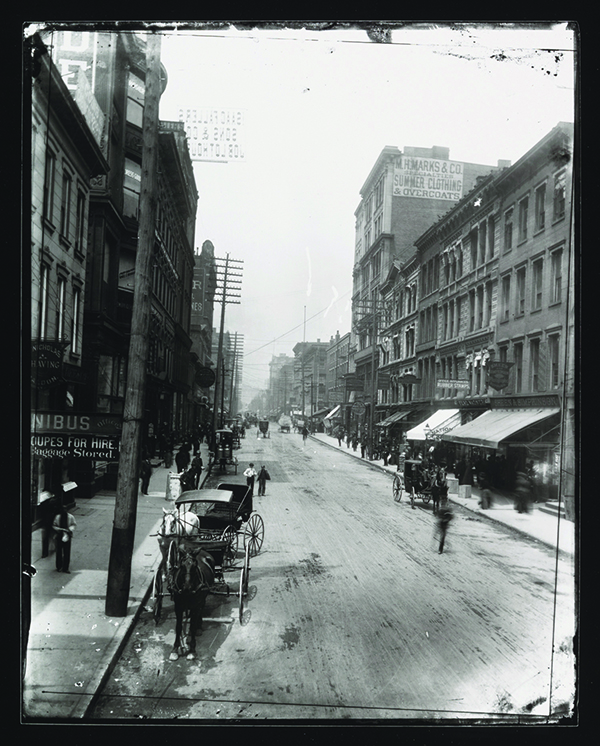 Fourth and Race Streets, gelatin silver contact print, 2013, from glass-plate negative, 1888 or 1889.