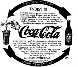 """This 1907 advertisement from the Cincinnati Enquirer emphasized the """"vim and go"""" included in a 5-cent glass of Coca-Cola."""